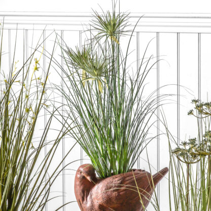 Potted Grass with 7 Flowers