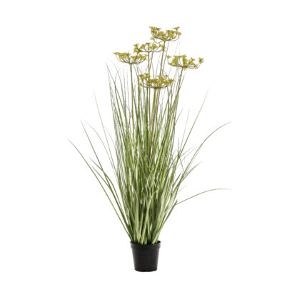 Potted Grass with 5 Heads Green/Yellow