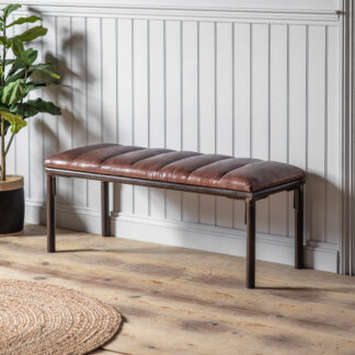 Tiverton Brown Leather Bench