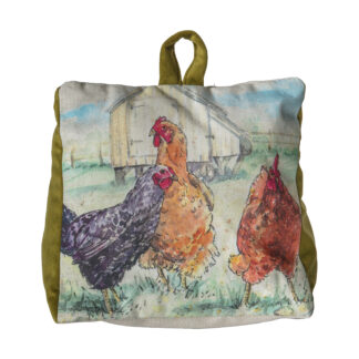 Chickens Watercolour Doorstop Olive