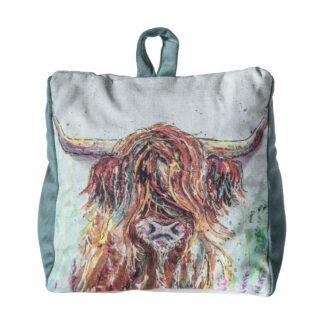 Highland Cow Watercolour Doorstop Duck Egg