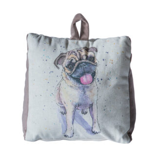 Pug Watercolour Doorstop Silver