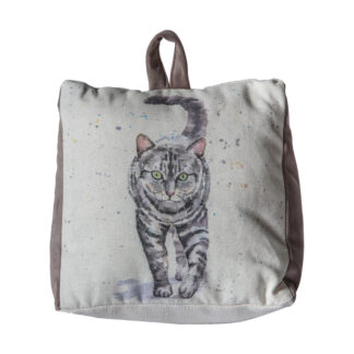 Tabby Cat Watercolour Doorstop Silver
