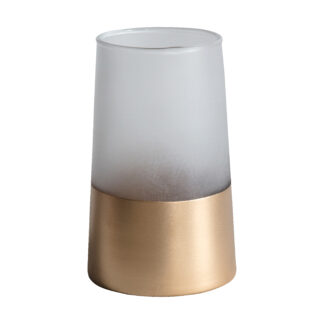 Fairview Vase Small White/Gold