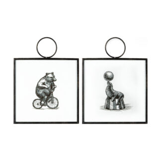 Whimsical Circus Hanging Art Set of 2
