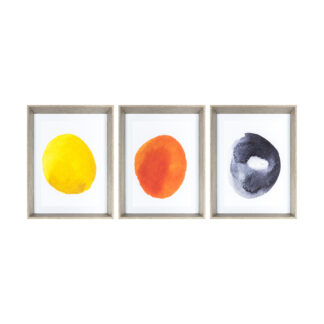 Ink Wash Abstract Framed Art Set of 3