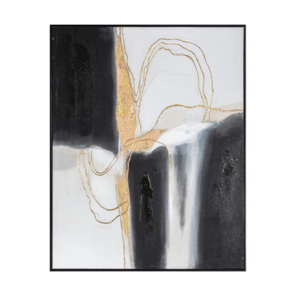 Golden Waters Abstract Framed Canvas