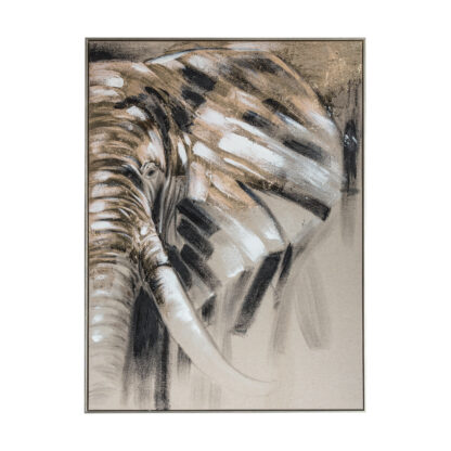 Wondering Elephant Abstract Framed Canvas