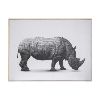 Tribal Rhino Abstract Framed Canvas