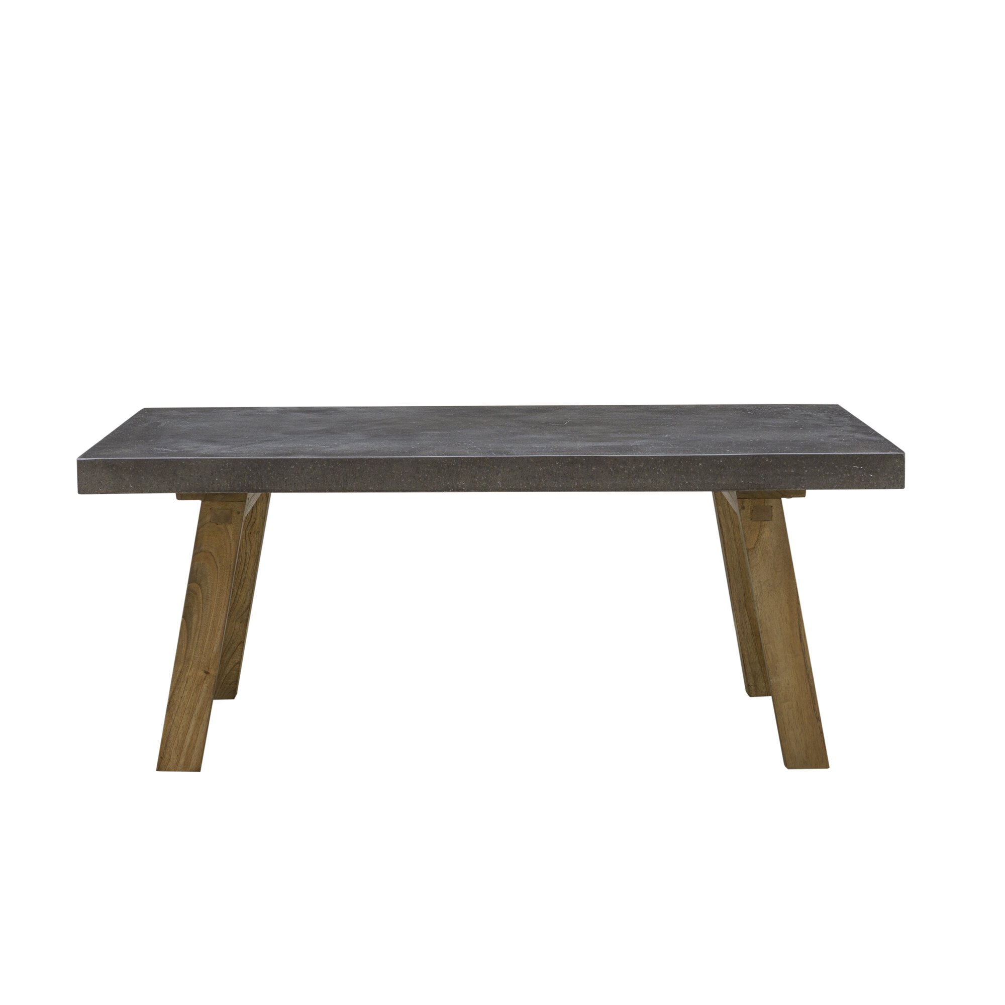 Industrial Coffee Table With Solid Cement Top & Wooden Legs
