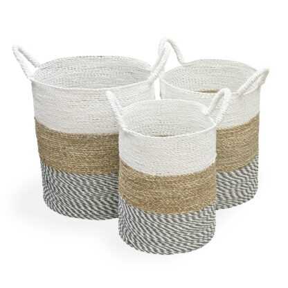 White Top Baskets Set of 3