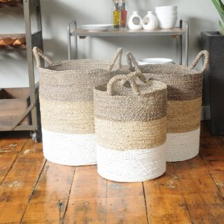 Natural / Stripe Baskets Set of 3