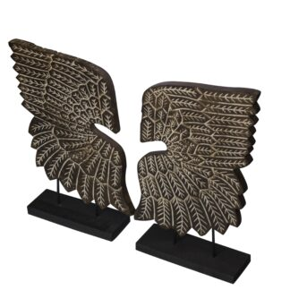 Carved Angel Wings - Set of 2