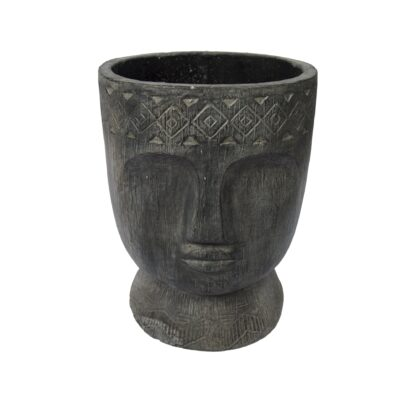 Set of 2 Carved Head Plant Pots