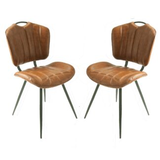 HEALEY Vegan Leather Chair Tan SET OF 2