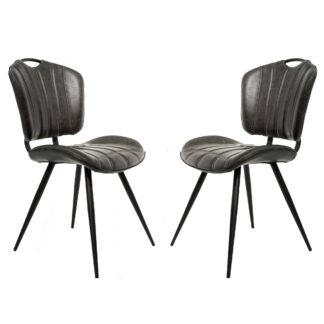 HEALEY Vegan Leather Chair Grey SET OF 2