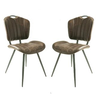 HEALEY Vegan Leather Chair Chestnut SET OF 2