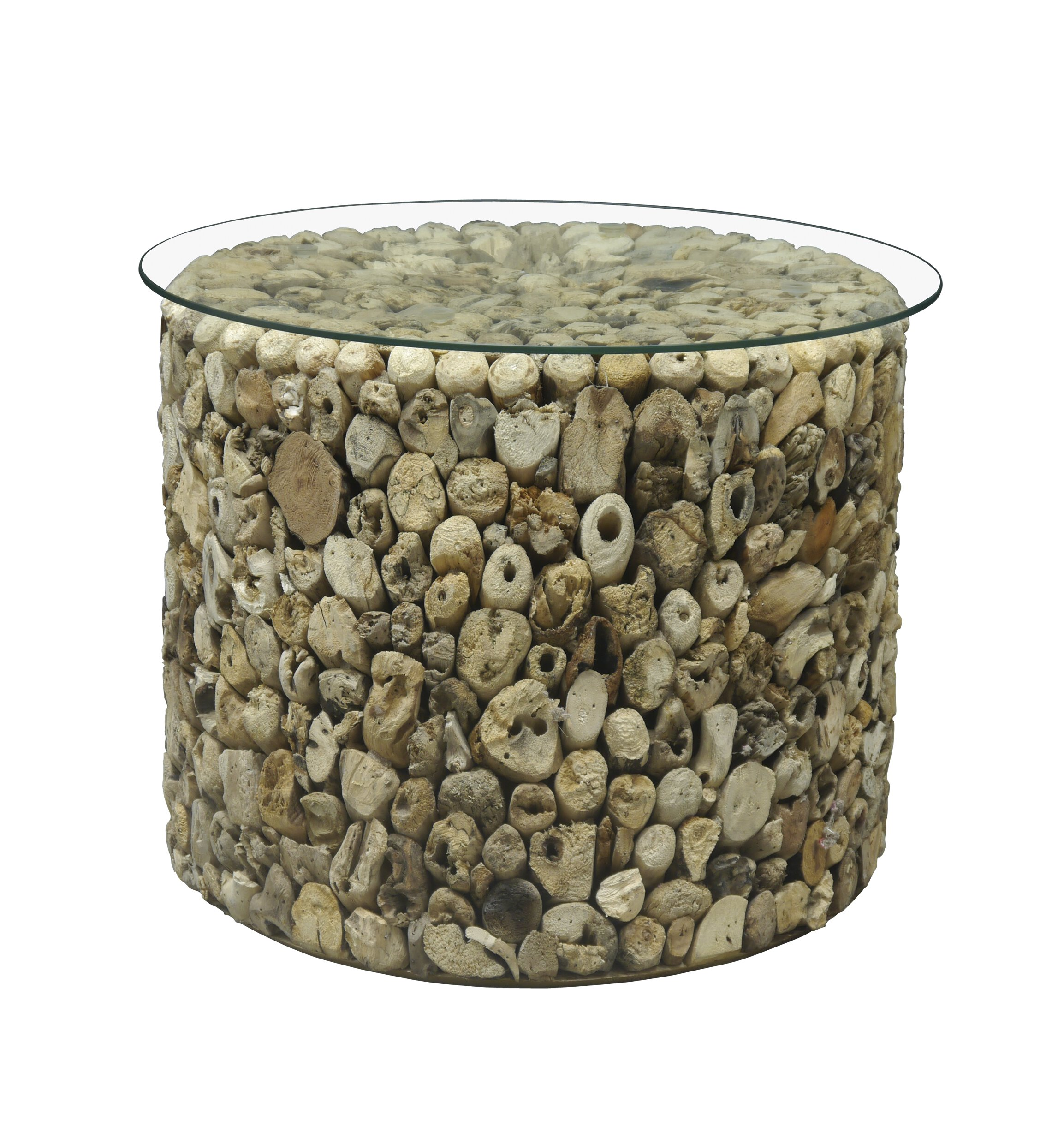 Natural Driftwood Drum Lamp Table
