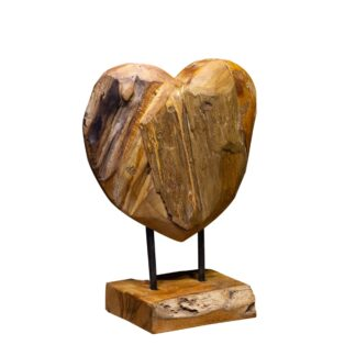 Sienna Teak Heart on Stand  - Set of 3