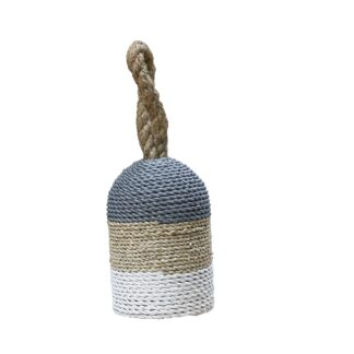 Basketweave Doorstop Tricolour Grey Top