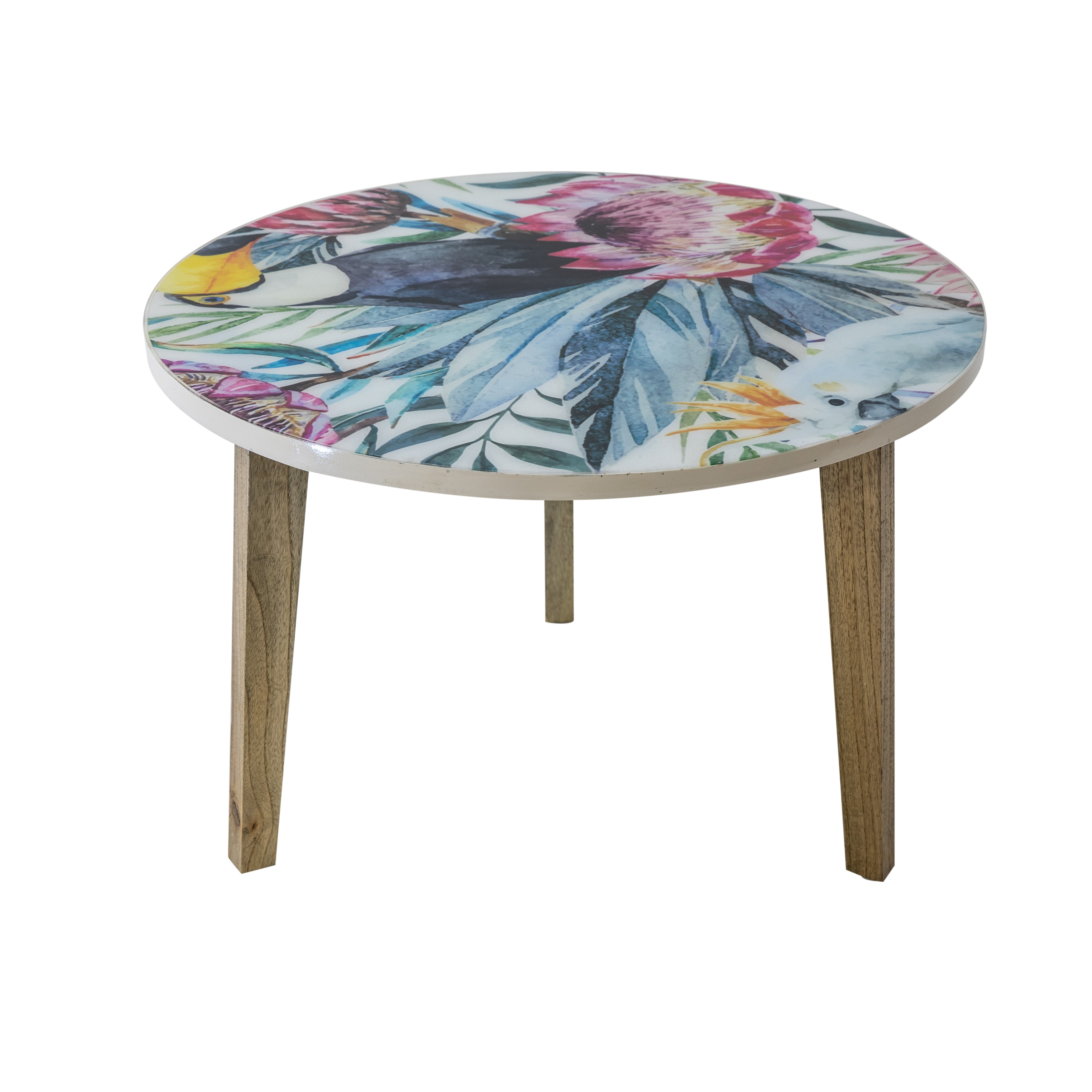 Round Lamp Table Protea Print - Large