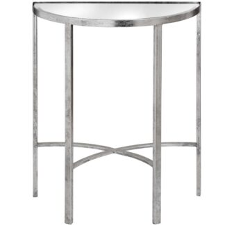 Mirrored Silver Half Moon Table With Cross Detail