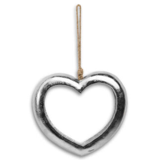 Large Casted Silver Cut Out Heart
