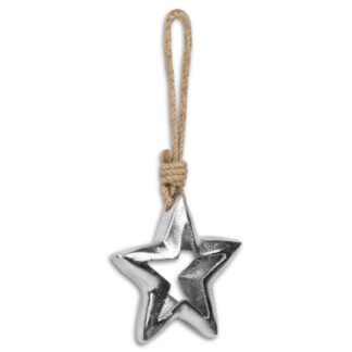 Casted Silver Cut Out Star Rope Hanging Decoration