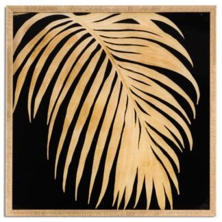 Metallic Palm Glass Image In Gold Frame