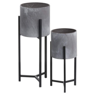 Set Of Two Concrete Effect Table Top Planter
