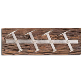 Wall Mounted Reclaimed Timber 4 Bottle Wine Rack