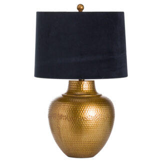 Knowles Bronze Table Lamp With Black Velvet Shade
