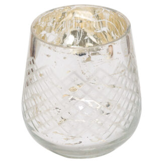 The Noel Collection Medium Silver Foiled Candle Holder