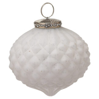 The Noel Collection White Textured Large Hanging Bauble