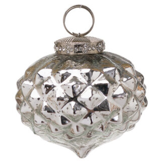 The Noel Collection Silver Textured Small Hanging Bauble