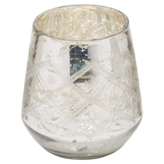 The Noel Collection Silver Foil Effect Tealight Holder