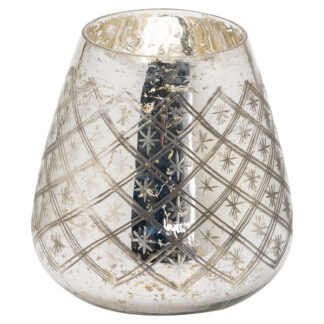 The Noel Collection Silver Foil Effect Candle Holder Large