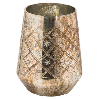 The Noel Collection Burnished  Medium Etched Candle Holder