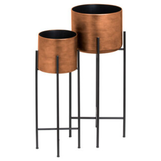 Set Of Two Copper Planters On Stand