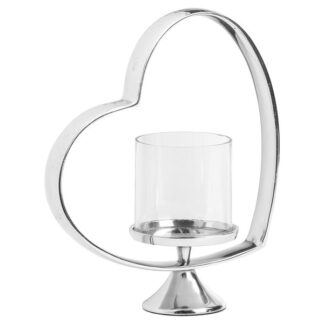 Heart Shaped Nickel Plated Candle Holder