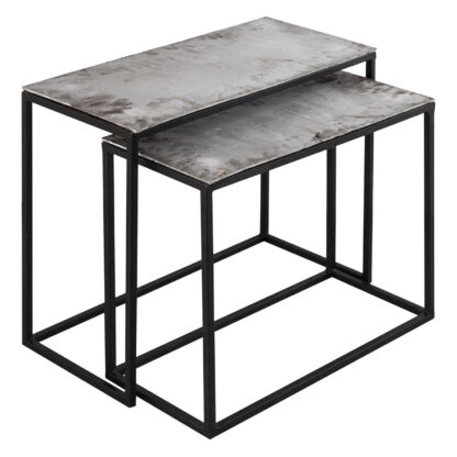 Farrah Collection Silver Set of Two Side Tables