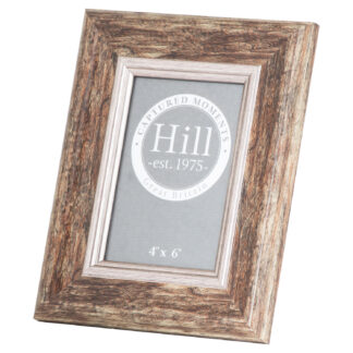 Distressed Wood With Silver Bevel 4X6 Photo Frame