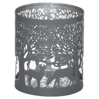 Smal Silver And Grey Glowray Stag In Forest Lantern