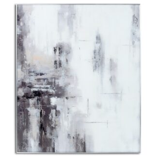 Hand Painted Black And White Soft Abstract Painting