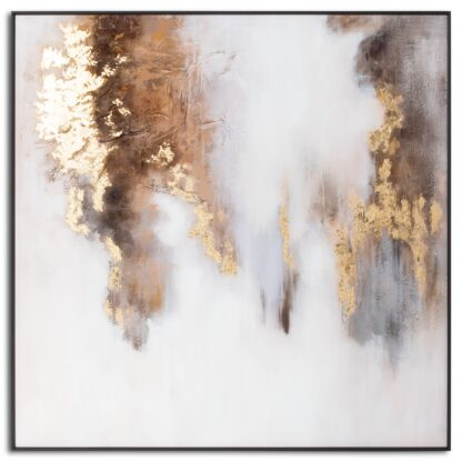 Metallic Soft Abstract Glass Image In Gold Frame