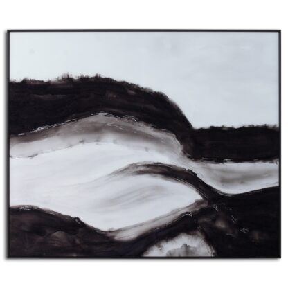 Black and White Rolling Hills Glass Image in Black Frame