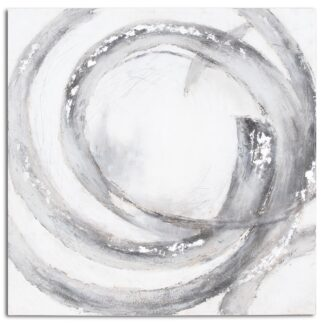 Glaxay Silver And Grey Hand Painted Canvas