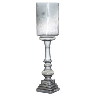 Silver Smoked Midnight Glass Top Tall Candle Pillar Holder