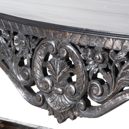 Hand Carved Louis Metallic Large Console Table