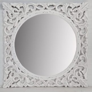 Hand Carved Louis White Large Wall Mirror